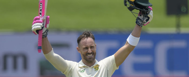 South Africa's Faf du Plessis celebrates after scoring a century (100 runs) during the third day of the first Test cricket match between South Africa and Sri Lanka at SuperSport Park in Centurion on 28 December 2020. picture: AFP