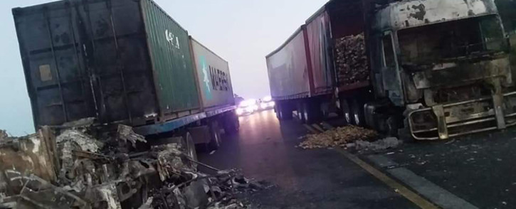 7 trucks were set alight by unknown suspects in the early hours of Thursday 28 March 2019 on the N3 near Mooi River. Picture: Supplied
