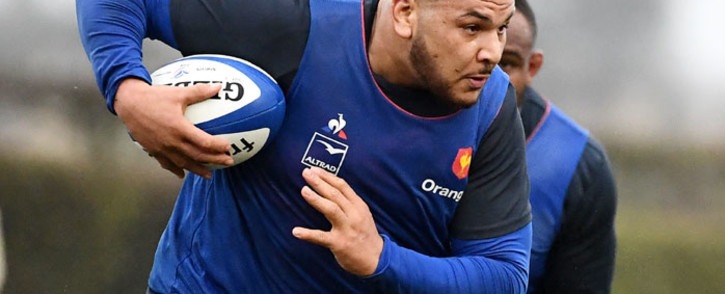 France's tight head prop Mohamed Haouas runs with a ball during a training session of the French Rugby union national team on 4 March 2020 in Marcoussis, south of Paris, as part of the preparation of the Six Nations Championship. Picture: AFP