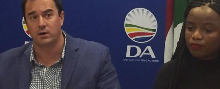 FILE: DA leader John Steenhuisen and MP Phumzile van Damme. Picture: EWN.