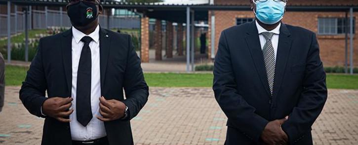 Gauteng MEC for Education Panyaza Lesufi and Gauteng Premier David Makhura at the opening of the revamped Abram Hlophe Primary School in Katlehong on 15 February 2021. Picture: Xanderleigh Dookey Makhaza/Eyewitness News