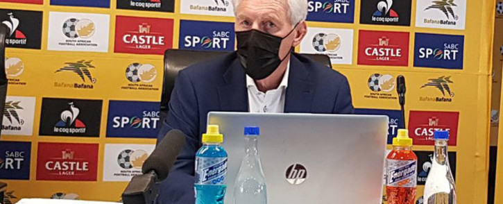 Bafana Bafana head coach Hugo Broos during a press conference on 12 May 2021. Picture: @BafanaBafana/Twitter