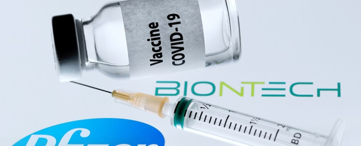 """FILE: This file picture taken on November 23, 2020 shows a bottle reading """"Vaccine COVID-19"""" next to US pharmaceutical company Pfizer and German biotechnology company BioNTech logos. Picture: AFP"""