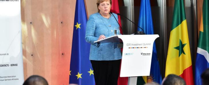 German Chancellor Angela Merkel addresses delegates at the G20 Summit. Picture: @PresidencyZA/Twitter