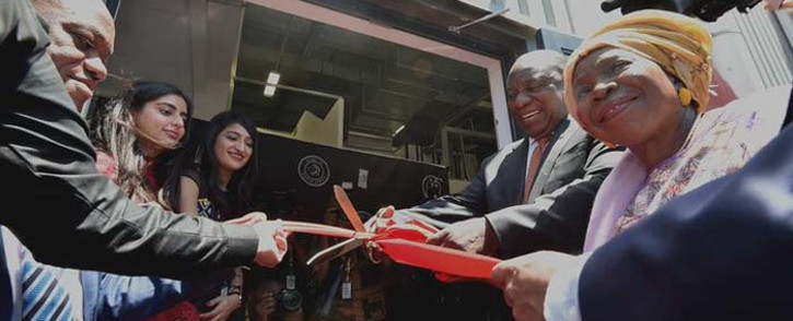 President Cyril Ramaphosa on 17 October 2019 officiated at the official opening ceremony of Mara Group's cellphone manufacturing plant at the Dube Trade port, Durban, with a ribbon-cutting ahead of the guided tour. Picture: @PresidencyZA/Twitter