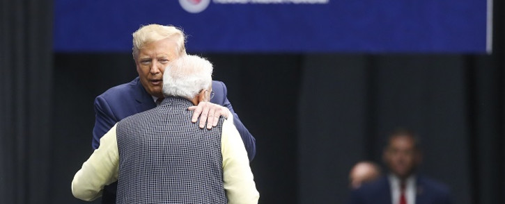 US President Donald Trump hugs Indian Prime Minister Narendra Modi at the Community Summit on 22 September 2019 at NRG Stadium in Houston, Texas. Picture: AFP