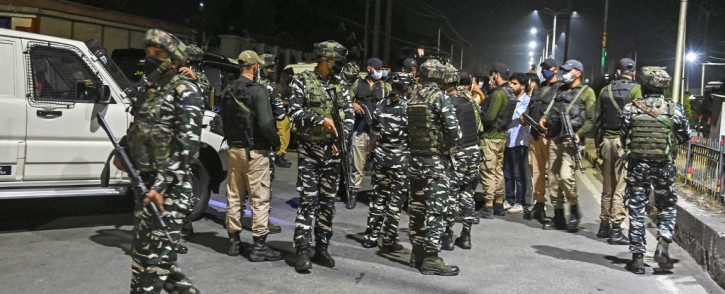 Indian paramilitary soldiers stand guard near the residence of Kashmiri separatist leader Syed Ali Shah Geelani after his death at the age of 92 in Srinagar late on 1 September 2021. Picture: TAUSEEF MUSTAFA/AFP