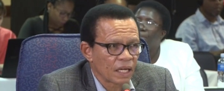 A screenshot of Lawrence Mrwebi testifying at the Mokgoro Inquiry on 20 February 2019. Picture: SABCNews/Youtube