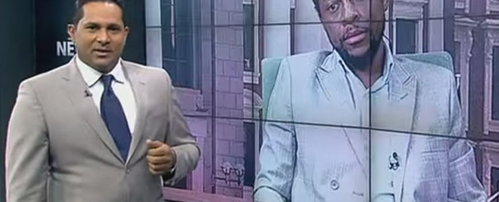 FILE: Screengrab of SABC's Eben Jansen interviewing EFF's Mbuyiseni Ndlozi on Newsroom, 9 April 2015