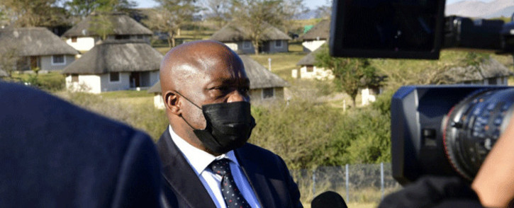 KwaZulu-Natal Premier Sihle Zikalala briefs the media after the funeral of former President Jacob Zuma's younger brother Michael Zuma at Nkandla on 22 July 2021. Picture: KZN Gov/Twitter.