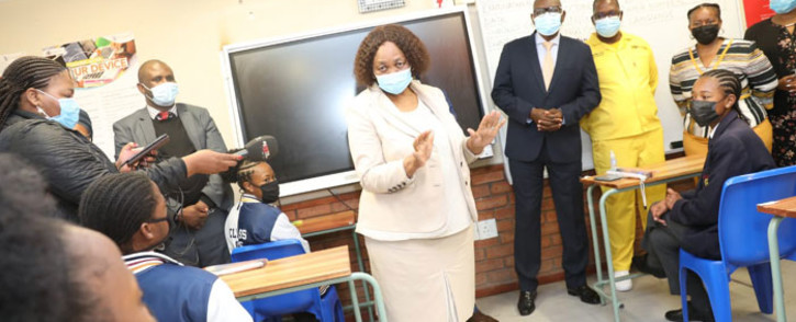 Basic Education Minister Angie Motshega addresses the matric class of 2021 at the Noordwyk Secondary School in Midrand on 27 October 2021. Picture: @DBE_SA/Twitter