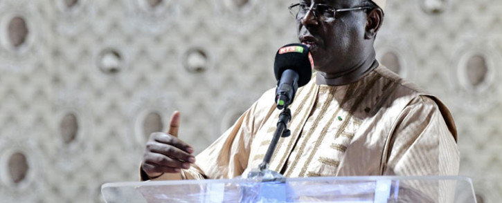 FILE: Senegalese President Macky Sall delivers a speech during his coalition's election campaign meeting at Lamine Gueye stadium in Kaolack, Senegal on 12 February 2019. Picture: AFP