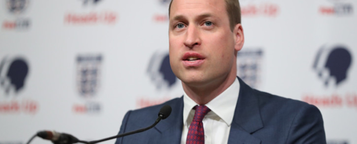 FILE: Britain's Prince William, Duke of Cambridge, President of the Football Association (FA), speaks as he attends the launch of a new mental health campaign at Wembley Stadium in London on 15 May 2019. Picture: AFP