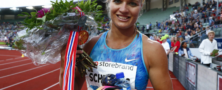 Dafne Schippers (NED) winner of the women's 200m celebrates after first being disqualified at the Diamond League Bislett Games at Bislett stadium in Olso on June 15, 2017. Picture: AFP