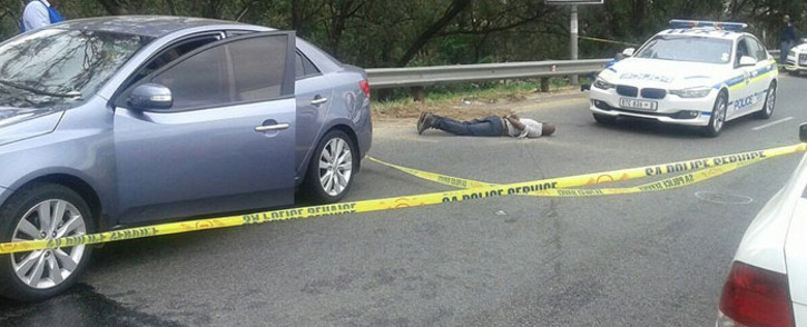 Policer arrested three people following a high speed chase and shoot-out in Alexander. Picture: @SAPoliceService via Twitter.