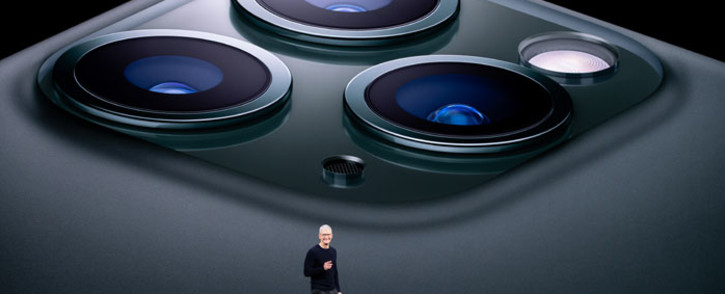 Apple CEO Tim Cook speaks on-stage during a product launch event at Apple's headquarters in Cupertino, California on 10 September 2019. Picture: AFP