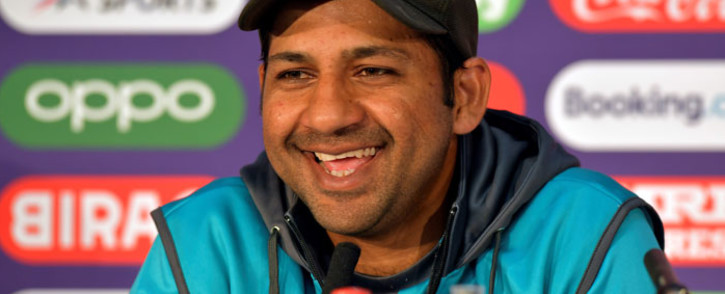 FILE: Pakistan's Sarfaraz Ahmed attends a press conference at Lord's cricket ground in London on 4 July 2019, ahead of their 2019 Cricket World Cup group stage match against Bangladesh. Picture: AFP