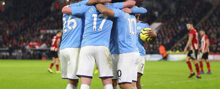 Manchester City players celebrate after beating Sheffield United 1-0 on 21 January 2020. Picture: @aguerosergiokun/Twitter.