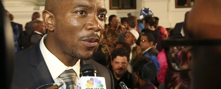 DA leader Mmusi Maimane speaks to journalists outside Parliament after the 2016 State of the Nation Address on 11 February 2016. Picture: Aletta Harrison/EWN