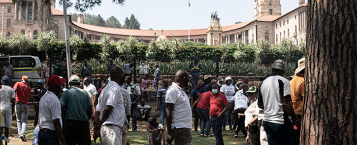 Taxi operators brought Pretoria to a standstill on 18 November 2020 as they embarked on a protest through the city. The operators demanded that Transport Minister Fikile Mbalula pay them the COVID-19 relief funds promised to them. At the Union Buildings they handed over a memorandum of demands to Deputy Minister in the Presidency, Thembi Siweya. Picture: Xanderleigh Dookey Makhaza/EWN