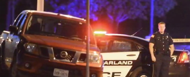 A screengrab showing a US police official on the scene where two gunmen were shot dead  at an art exhibit in Garland, Texas.
