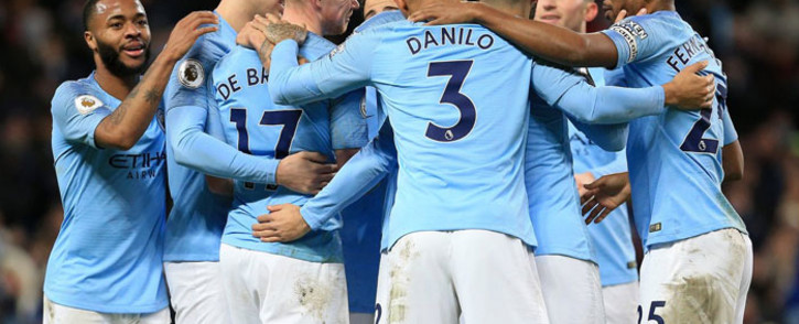 Manchester City players celebrate a goal in the English Premier League match against Wolves on 14 January 2019. Picture: @ManCity/Twitter