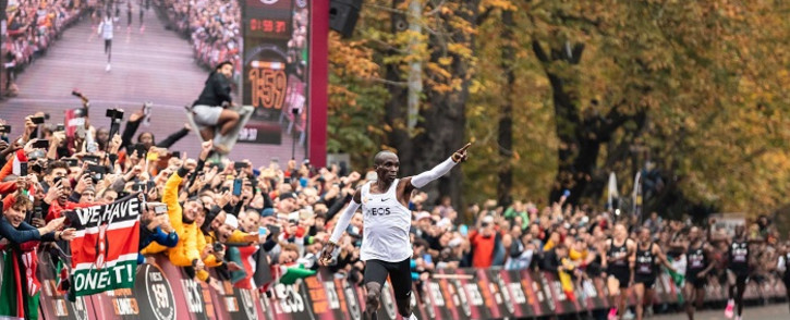 Eliud Kipchoge, who finished a special marathon in Vienna in one hour, 59 minutes and 40 seconds that will not be recognised for world record purposes, also was nominated for his London Marathon course record. Picture: @EliudKipchoge/Twitter