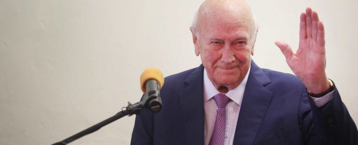 Former President FW de Klerk addressed the Cape Town Press Club on 23 January 2019 after a being out of the public eye for months due to health concerns. Picture: Bertram Malgas/EWN