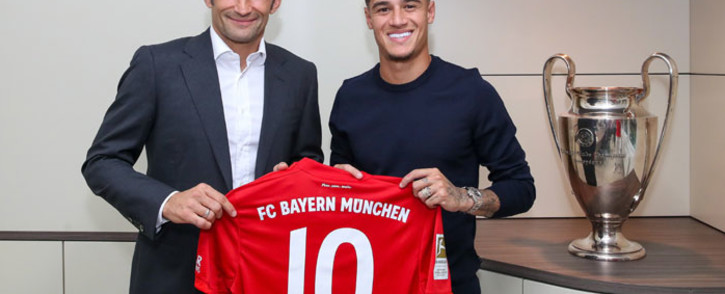 Brazilian midfielder Philippe Coutinho (right) is unveiled by his new club Bayern Munich. Picture: @FCBayernEN/Twitter