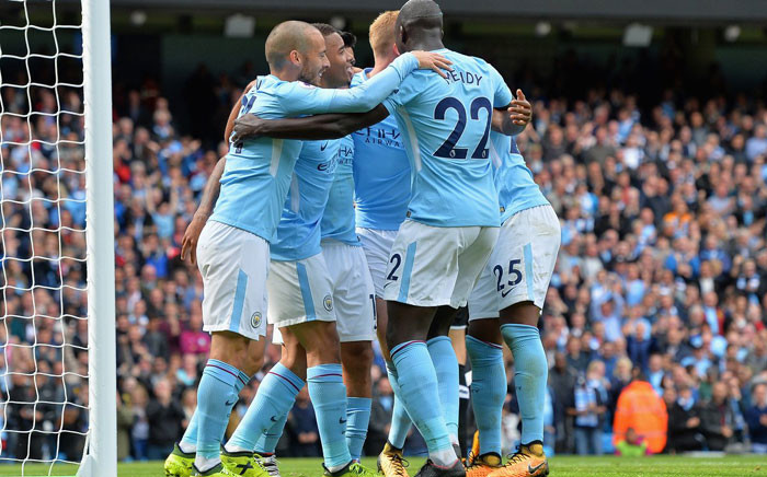 Manchester City players, including Gabriel Jesus, celebrate after beating Liverpool 5-0 on 9 September 2017. Picture: @ManCity.
