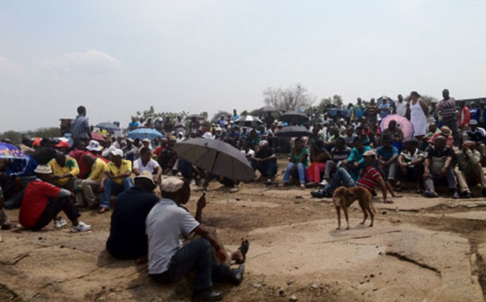 Striking miners at Anglo Platinum. Picture: Eyewitness News.