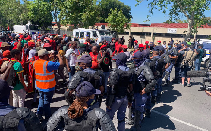 Public order police control EFF protesters who are on their way to demonstrate at the Brackenfell High School in Cape Town on 20 November 2020. Picture: @EFFWesternCape_/Twitter
