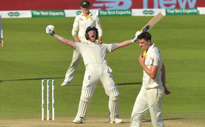 England's Ben Stokes celebrates hitting the winning runs on the fourth day of the third Ashes cricket Test match between England and Australia at Headingley in Leeds, northern England, on 25 August 2019. Ben Stokes hit a stunning unbeaten century as England defeated Australia by one wicket to win the third Ashes Test at Headingley on Sunday. Picture: AFP