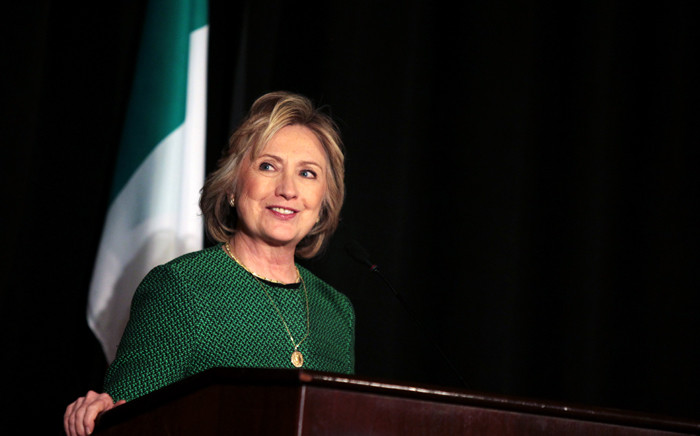 Former Secretary of State Hillary Clinton speaks on stage during a ceremony to induct her into the Irish America Hall of Fame on 16 March, 2015 in New York City. Picture: AFP.