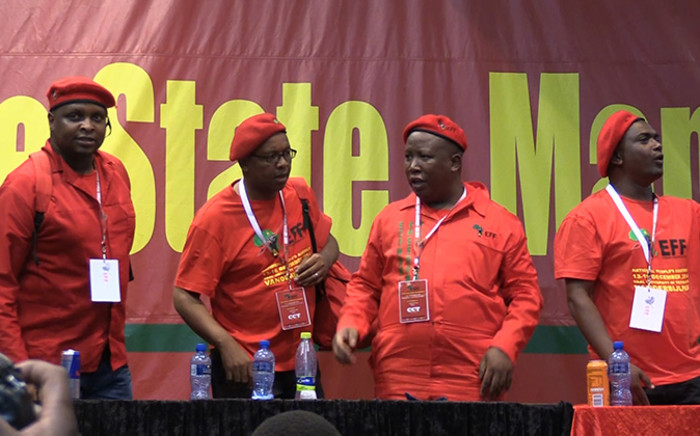 FILE: EFF leaders on the podium following their nominations into the party's top national leadership positions. Picture: Vumani Mkhize/EWN.