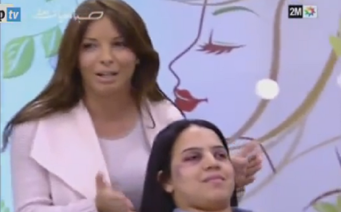 A screengrab of the segment of the Sabahiyate programme showed women how to conceal bruises caused by domestic violence using make-up.