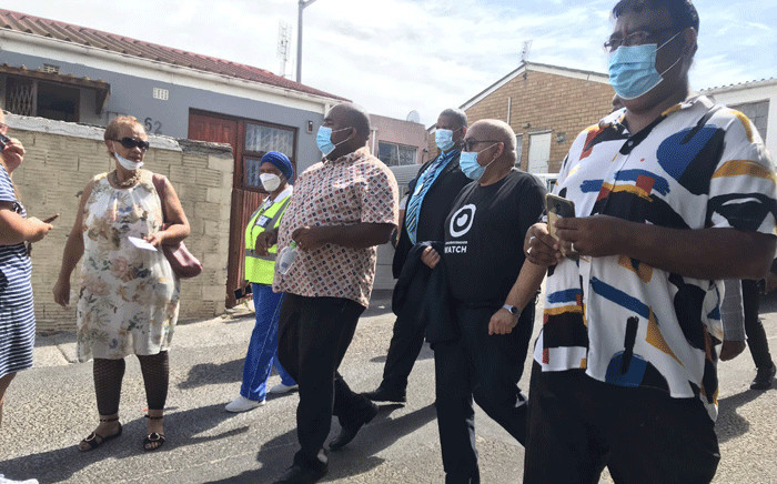 Western Cape Community Safety MEC Albert Fritz visited Mitchells Plain on 1 March 2021 following a spate of gang related shootings. He met with the families of those who died in the attacks. Picture: Lizell Persens/Eyewitness News.