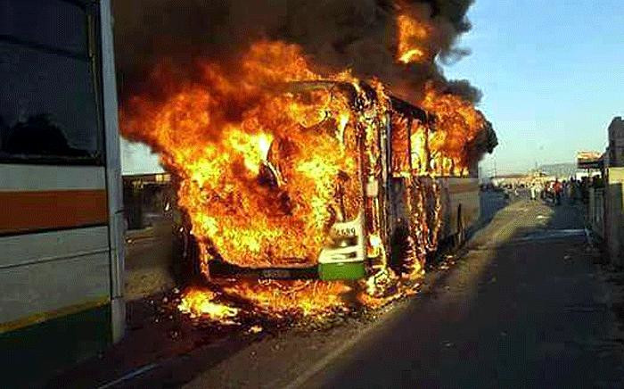 FILE: A Golden Arrow bus was torched in the Delft area on 18 September 2017. Picture: Supplied