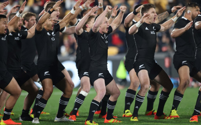 FILE: New Zealand's players perform the haka during the rugby test match between the New Zealand All Blacks and Tonga at Mt Smart Stadium in Auckland on 3 July 2021. Picture: Michael Bradley/AFP