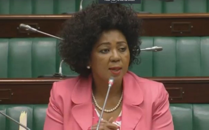 A screengrab of former SABC board chairperson Ellen Tshabalala answering questions in Parliament.