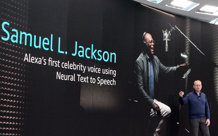 Amazon senior Vice President of devices and services Dave Limp announces celebrity voices are being added to digital assistant Alexa at Amazon's headquarters in Seattle on 25 September 2019. Picture: AFP