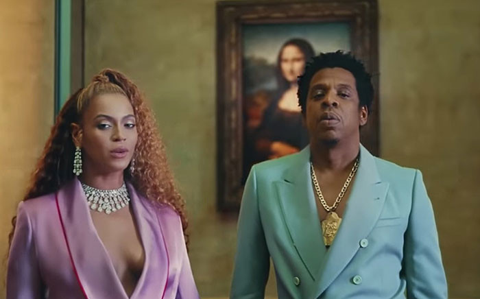 A YouTube screengrab shows Beyonce and Jay-Z in their music video 'APES--T,' filmed at the Louvre in Paris, France.