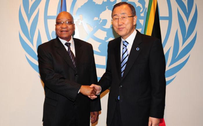 South African President Jacob Zuma and UN Secretary General Ban Ki-moon. Picture: Sapa.