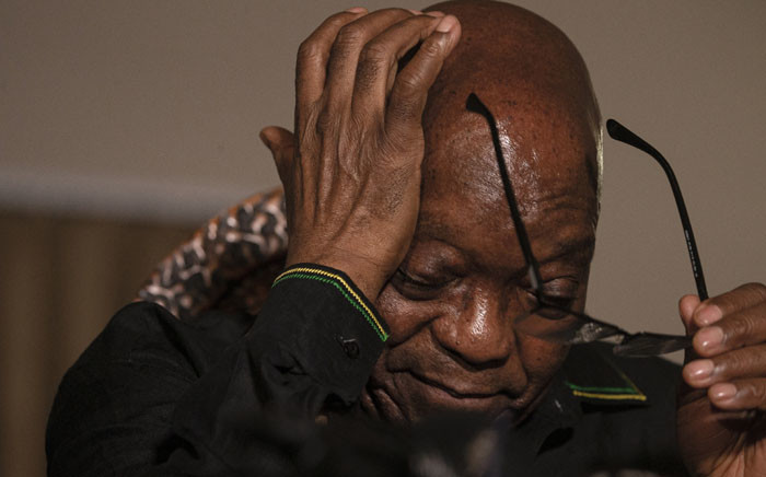 FILE: Former South African President Jacob Zuma removes his eyeglasses as he addresses the media at his home in Nkandla, KwaZulu-Natal on 4 July 2021. Picture: Emmanuel Croset/AFP