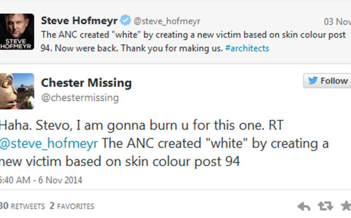 FILE: The Twitter spat between Afrikaans singer Steve Hofmeyr & puppet Chester Missing over controversial statements about race made headlines in 2014.
