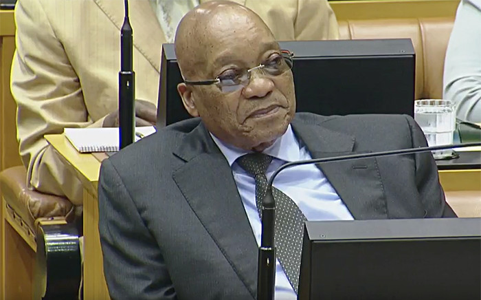 President Jacob Zuma watching on during the 2016 State of the Nation debate on 16 February 2016. Picture: YouTube.