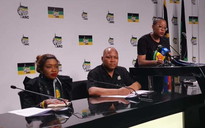 The ANC's national youth task team ( (NYTT) held a press briefing on 14 October 2019 following its second meeting at the weekend. (From L-R) NYTT convener Tandi Mahambehlala, coordinator Sibongile Besani, and NYTT communications manager Refilwe Lekgothoane. Picture: @MYANC/Twitter