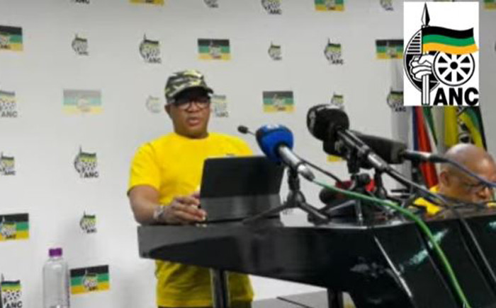 A screengrab of ANC head of elections, Fikile Mbalula, briefing the media on 16 September ahead of the local government elections.
