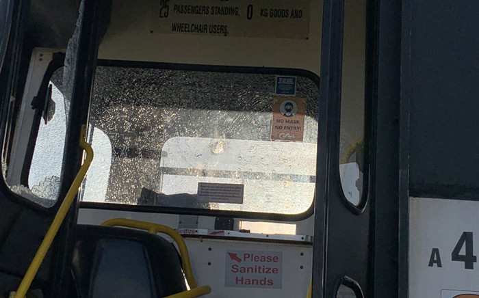 A Golden Arrow bus was shot at on the N2 near Nyanga, Cape Town on 19 July 2021. Picture: Kaylynn Palm/Eyewitness News