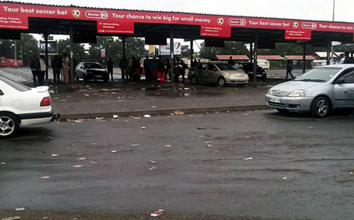 The Germiston taxi rank without any taxis during a taxi driver protest on 3 February 2014. Picture:@Masechaba89 via Twitter.